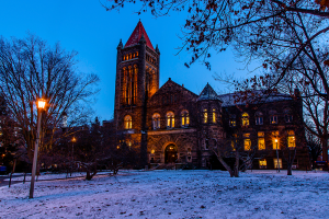 Altgeld Hall on a snowy evening.