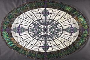 A high-resolution image of Jane Bergman's stained glass dome replica