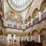 A conceptual rendering displays reconfigured space, restored murals, and a recreated glass dome in the Altgeld Hall library foyer. (Image by CannonDesign.)