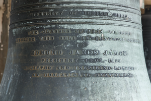 The largest of the bells in the Altgeld Chimes is inscribed with a dedication to Edmund James.